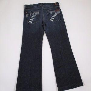 7 FAM Dojo Flare jeans dark wash white 7 sz 29 EUC